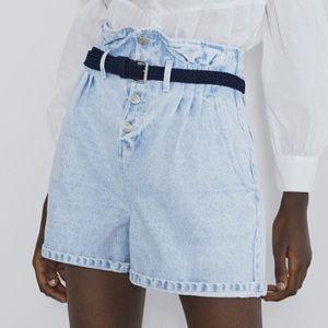 Zara- High Waist Paperbag Shorts, SIZE:S
